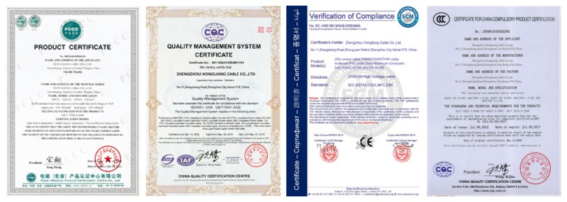 4mm twin and earth cable certificates of Huadong