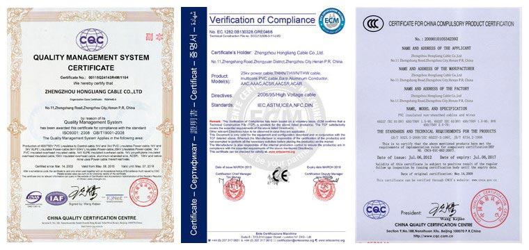 huadong welding cable certificates